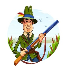 Hunter man with rifle on vector