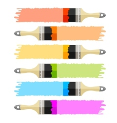 Brush multicolored set vector
