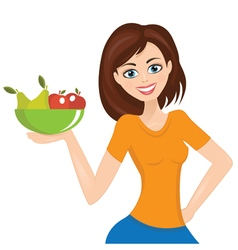 Smiling woman presenting plate with fruit vector