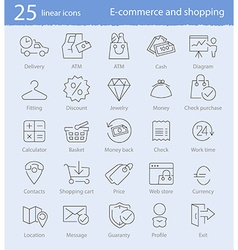 E-commerce shopping and web store thin line icons vector