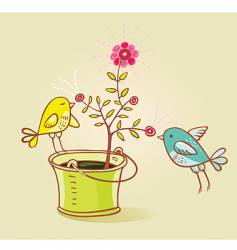 Two birds and flower aroma vector