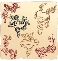 Set of vintage elements for valentines day vector