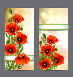 Set of summer banners with red poppies vector