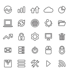 25 outline universal big data database icons vector