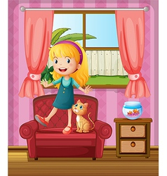 A girl and a cat in a sofa vector