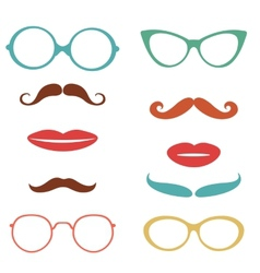 Party set with mustaches lips eyeglasses vector