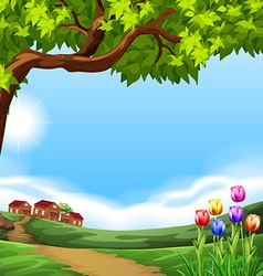 Landscape with small houses vector