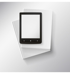 E-book lying on top of books with place for your vector
