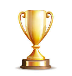 Golden trophy cup vector