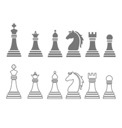 Chess pieces including king queen rook pawn knight vector
