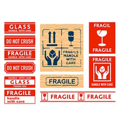Handle with care stickers vector