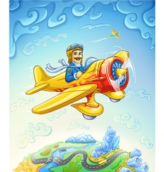 Cartoon plane with pilot flying over the earth vector