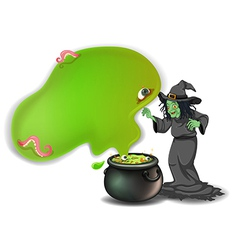 A scary witch with a magical pot vector