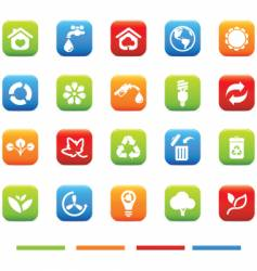 Green icons environmental 4 color vector