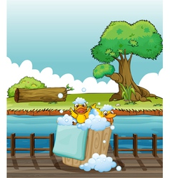 Ducklings playing in a pail full of bubbles vector