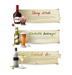 Alcoholic drinks banners vector