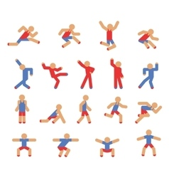 Man in running jumping and dancing poses vector