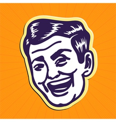 Vintage charming portrait of smiling retro man vector