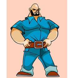 Cartoon hefty strong man vector