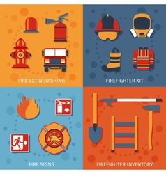 Firefighter flat set vector