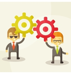 Businessman with gears team work vector