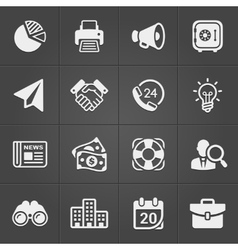 Business and finance icons on black set 1 vector