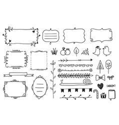Floral decor set of hand drawn doodle frames vector
