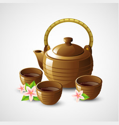 Teapot and cups vector