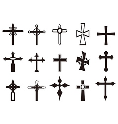 Religious cross symbol set vector