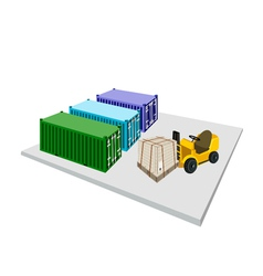 Forklift truck loading shipping box into container vector