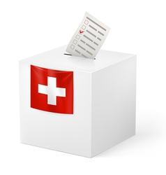 Ballot box with voicing paper switzerland vector