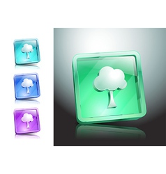 Tree glass icons set color nature vector