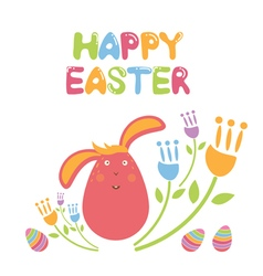 Concept happy easter with flowersbunny and eggs vector