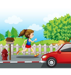 A girl jogging in the street vector