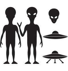 Alien and ufo vector