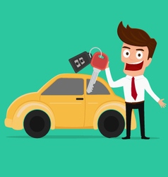 Businessman holding the key of a new car vector