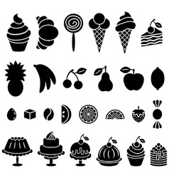 Sweet baked food and fruit silhouettes set vector