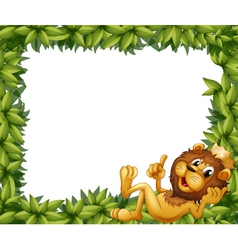 A lion with a crown in a leafy frame vector