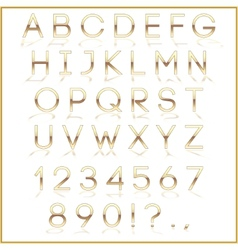 Golden alphabet letters with reflection on white vector