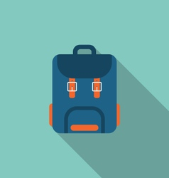 Flat icon of backpack with long shadow on blue vector