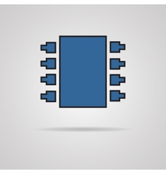Electronic chip single flat color icon vector