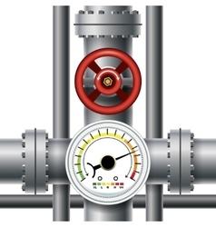 Gas pipe valve pressure meter vector