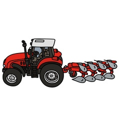 Tractor with a plow vector