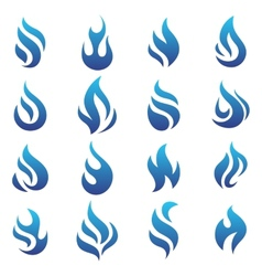 Fire flames blue set icons vector