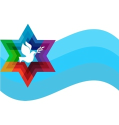 Peace pigeon on background of blue waves vector
