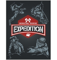 Rock climbing expedition set - expeditions emblem vector