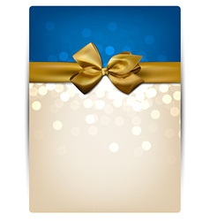 Greeting card with golden bow vector