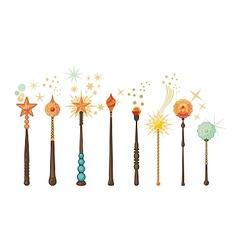 Magic wands set vector