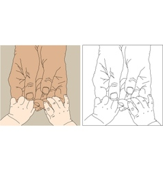Childrens and adult hands vector
