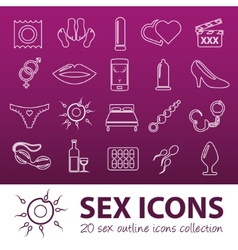 Sex outline icons vector